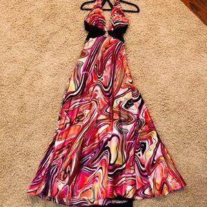 dress, size 5/6,black/white/pink/orange rhinestone